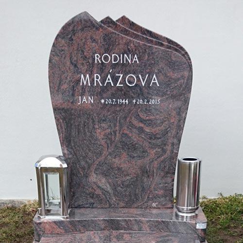 Elegantní urnový pomník s nerezovými doplňky